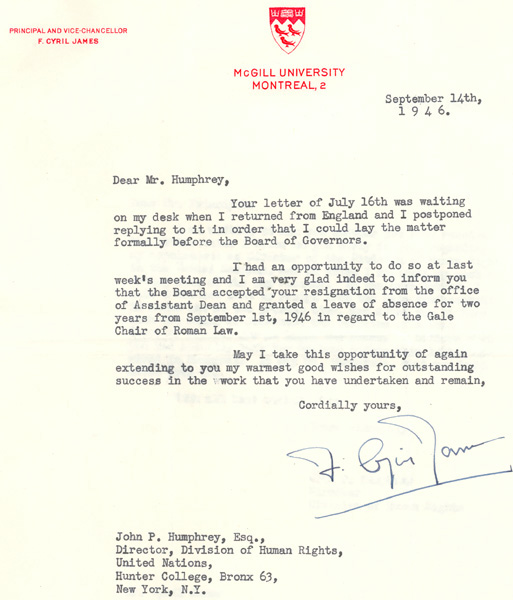 Letter Regarding The Resignation Of John Peters Humphrey As Acting Dean Faculty Law McGill University 1946